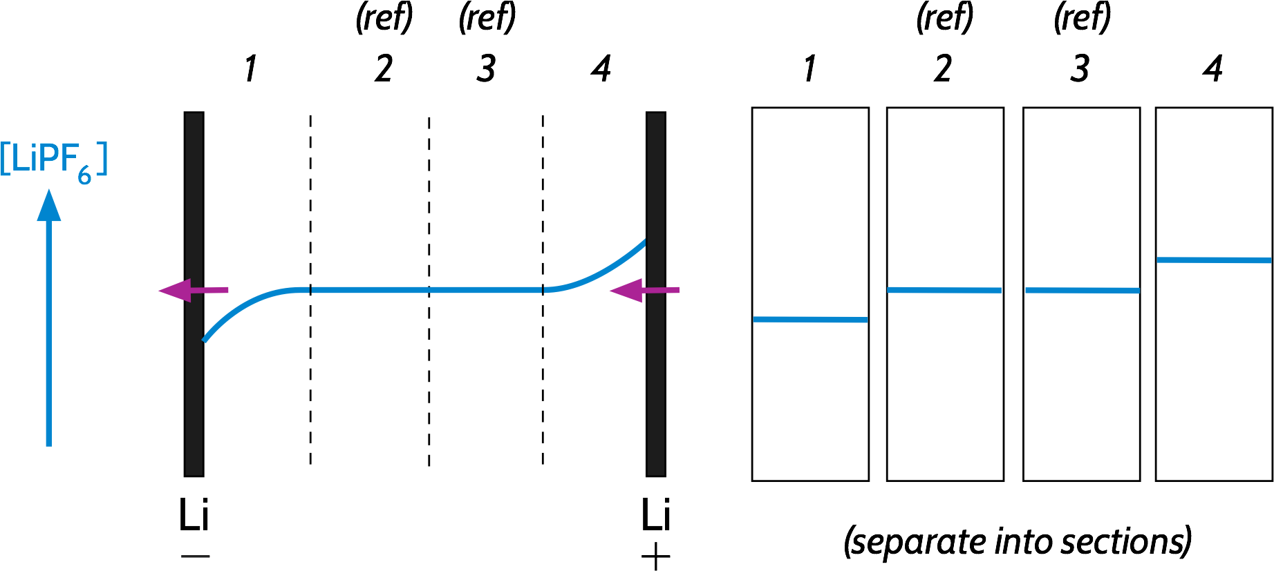 Schematic of a Hittorf experiment